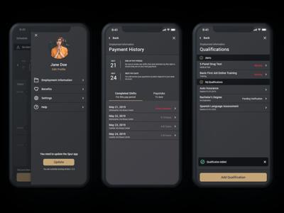 Menu Items dark mode dark app dark ui list button toast mobile design mobile ui material apple app design payment menu flyout app ios branding visual design ui ux