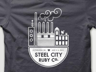 Steel City Ruby Conf tee shirt t shirt screen print white grey ruby pittsburgh factory city steel smoke vector