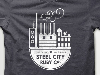 Steel City Ruby Conf  tee shirt t shirt screen print white grey ruby pittsburgh factory city steel smoke vector
