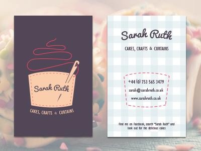 Sarah Ruth Business Card business card cakes crafts