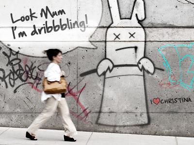 Look Mum I'm dribbbling graffiti cartoon rabbit tophat