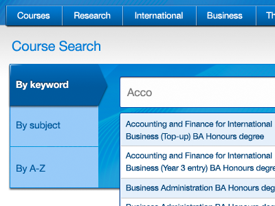 Course search with auto-suggest course search university tabs auto-suggest autosuggest