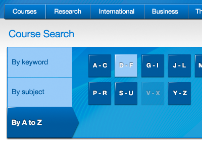 Course search by A to Z course search university tabs a to z