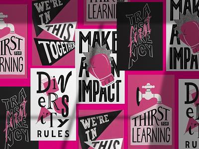 Frontastic's values postcards poster postcards design lettering typography branding illustration