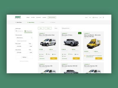 Car rental - Select vehicle flow layout visual design landing page ux ecommerce ui design