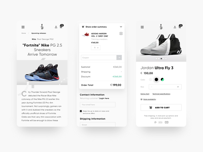eCommerce mobile detail, blog and cart pages design web layout landing page ux ecommerce branding visual design typography ui