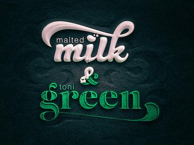 Milk & Green ampersand dune white gang typography typo type green liquid milk solid texture