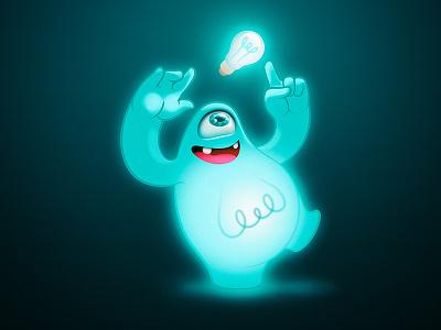 Monster  charadesign monster mascot character lamp blue eye dune france handmade gang illustration