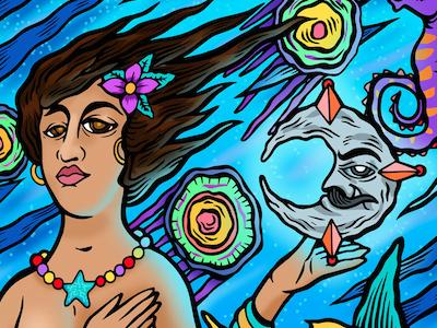 Sirena Xochimilco illustration legend mexico beach sea ocean mar sirena mermaid
