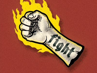 Fight power fist photoshop illustration drawing