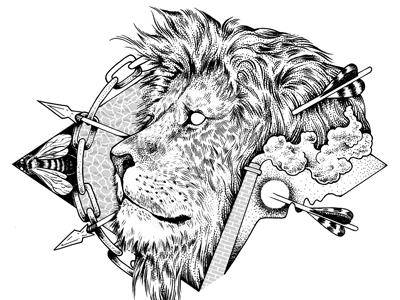 Nuevo león handmade ink tattoo draw illustration cat lion leon