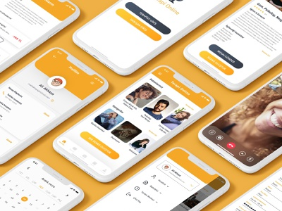 Online Therapist App yellow psychology uiux ui design application app design mobile app ui