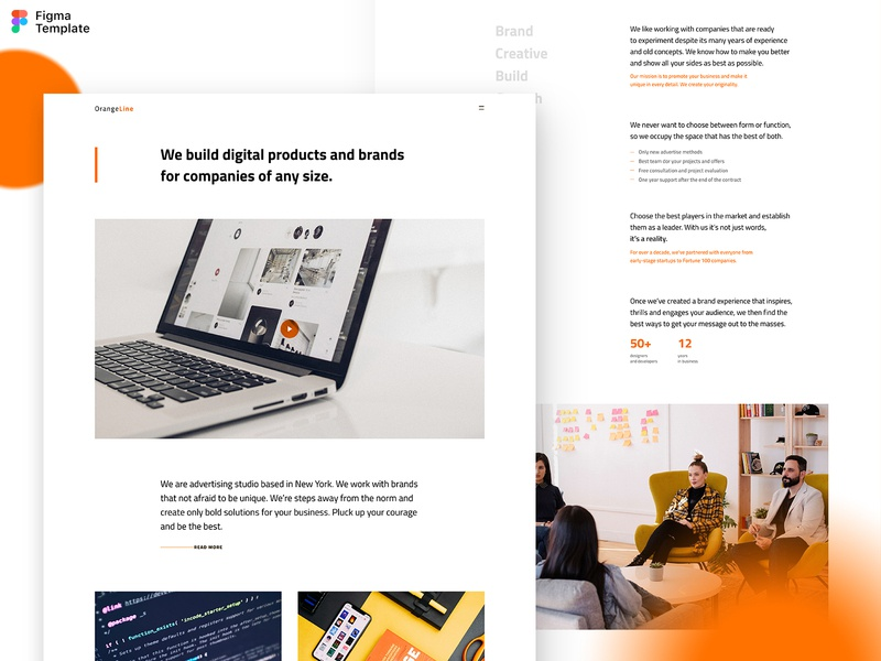Landing page - Figma template oliverdul ui landing page ui landing design design studio orange figma figma landing page figma kit figma template simple landing page minimal ui hero image landing page design landing landing page template homepage concept website concept minimal