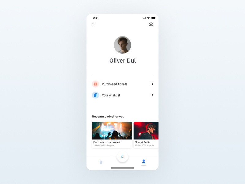 Screen from event app - Profile music app concert app music concert ticket wishlist 2020 oliverdul profile app profile screen profile ticket app events app event modern app white app design material design google design minimal app design minimal app event app