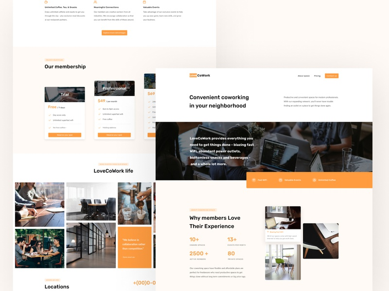 Site for Co-Working space landing page homepage orange minimal 2020 clean creative agency oliverdul onepage site onepage minimal figma design architecture interior simple creative coworking space concept coworking