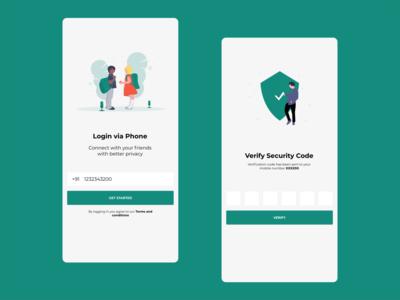 Phone Authentication adobe xd typography logo design illustration ui xd design xd app design animation andorid app phone login authentication