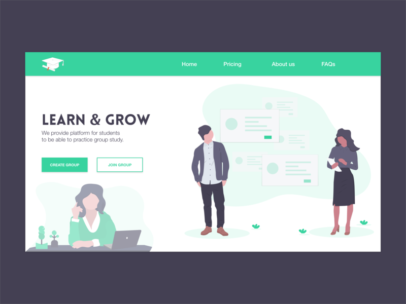 Learn & Grow - Group Study flat minimal website web icon vector identity adobe xd typography adobexd adobe ui illustrator illustration graphic design design