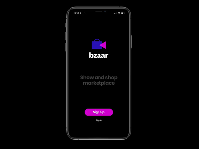 Bzaar - Live show and sell marketplace logo shopping app livestream ios ui  ux app