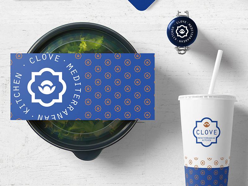 Clove Mediterranean Kitchen brown gold blue clove mediterranean logo restaurant