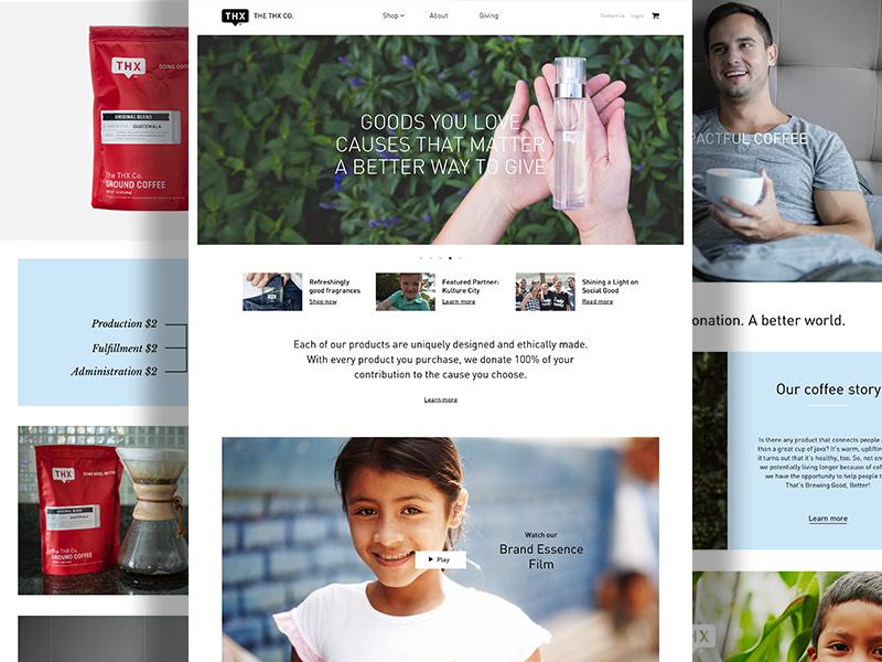 Thx New ecommerce website social enterprise tea fragrance candles coffee non-profit cause