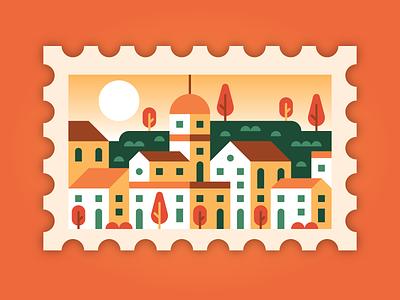 TUSCAN SUNRISE travel scene geometric city cityscape italy firenze florence tuscany stamp sunrise