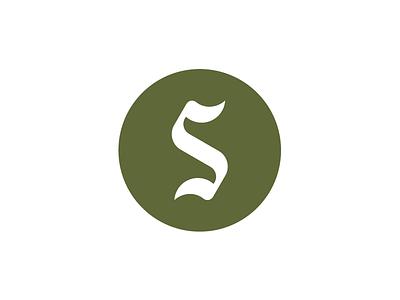 S green circle swordfern identity mark blackletter s