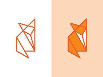 Origami Fox fold paper stroke fill line orange origami fox