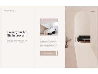 interior design homepage ui design minimalistic scroll protopie animation landing page interior design website interior minimal ux ui