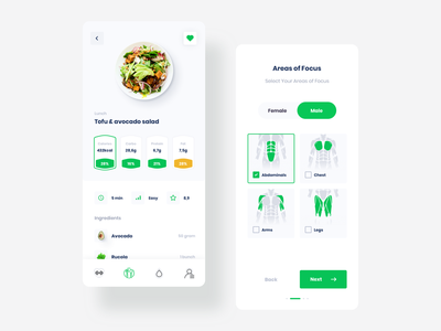 FITNETE: creating designs, user flow and animations for a fitnes ideamotive gym exercise muscle react native workout cooking green food diet sport fitness mobile app minimal flat ui