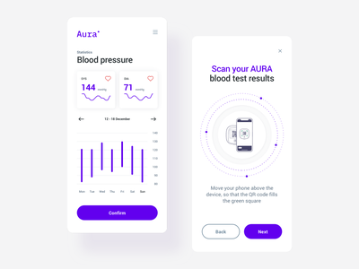 AURA: building a mobile app for a medtech star health diagnose test blood pressure blood healthcare medital ideamotive branding simple design statistics minimal app ui