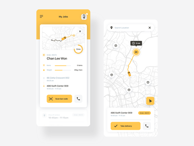 Changing the way the goods move in cities - CarPal fleet yellow logistics map city ux mobile statistics flat minimal app branding logo design