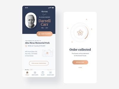 Memcare: digital transformation for funeral homes. market death gold ideamotive funeral mobile app minimal ui