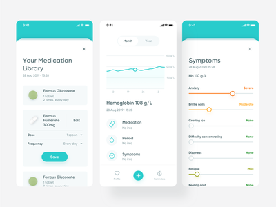 Luma: mobile app for visualization of blood results date picker slider fab button search pill graphic statistics clean mobile app mobile app medical app blood pressure blood medicine medical medtech entia