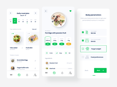 Creating designs, user flow and animations for a fitness ui flat minimal gym app mobile fitness sport diet food green cooking workout react native muscle exercise gym ideamotive