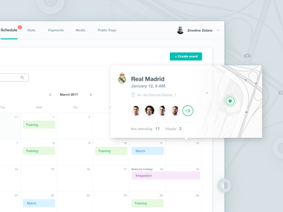 Team Schedule web ux ui table statistics player football dashboard app 10clouds