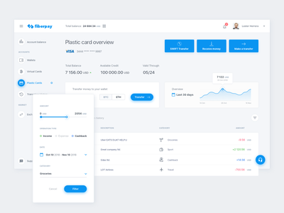 Fiberpay - Fast money transfer dashbaord ui app bank cryptocurrenty bitcoin account history money finance