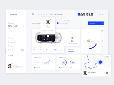 Car fleet dashboard car white balazy web simple ui cards responsive minimal mark light statistics infograhic blue flat clean city design dashboard app