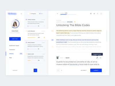 Translations Ordering tooltip suggestion mail translate dashboad app design clean flat blue infographic statistic light minimal responsive cards ui simple web white