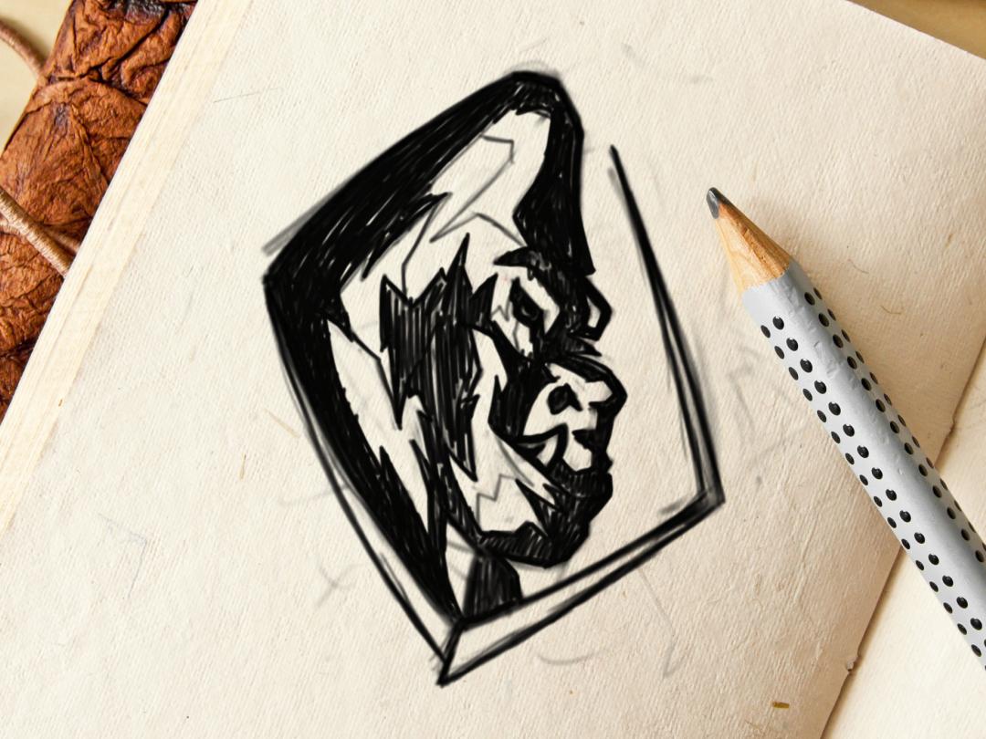 gorilla ui character animal elesense vector branding icon image graphic creative logotype illustrator digitalart brand logo design logoinspirations art draw illustration