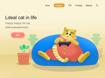 英文版网页插画,加强版小肥猫,希望喜欢