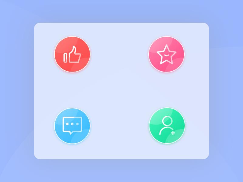 四个质感的小图标 视觉设计 素材 ps 设计 icon a day 渐变 质感 icon ui