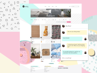Analog E-commerce Chatbot chat bot chatbot visual design ui product design ux landing page e-commerce