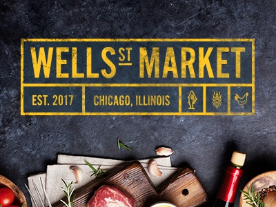 Wells St. Market Logo Design hall food chicago design logo market st. wells