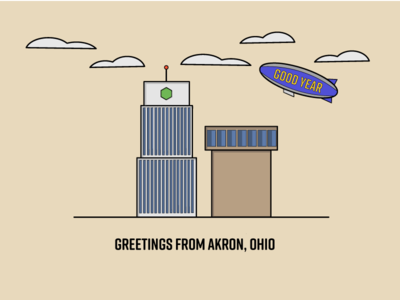 Greetings From Akron blimp ohio akron buildings