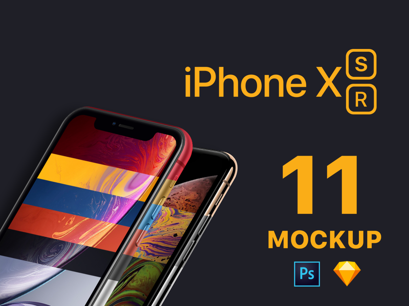 iPhone XS, XR Mockup for Photoshop and Sketch
