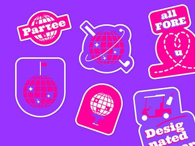 Partee Golf Stickers pink vibrant badge instagram branding social media design golf illustration stickers