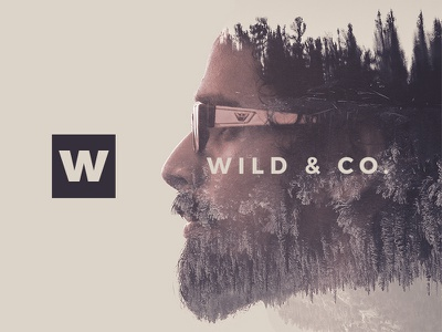 Illustration for Wild & Co. double exposure specs hipster retro branding logo goggles beard forest photography wild illustration