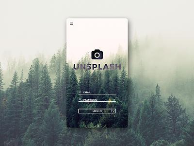 Unsplash app design concept: Login screen login photography mobile app unsplash ui