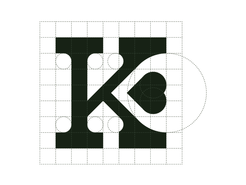 Klove 7x7 geometry grid logo design