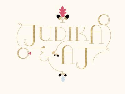 Judika & AJ wedding ID typography wedding vintage identity logo